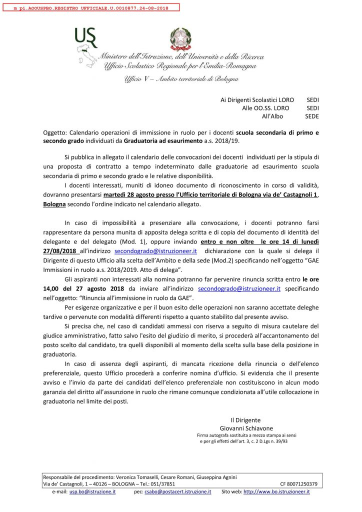 Calendario Scolastico Bologna.Uat Di Bologna Calendario Operazioni Di Immissione In Ruolo