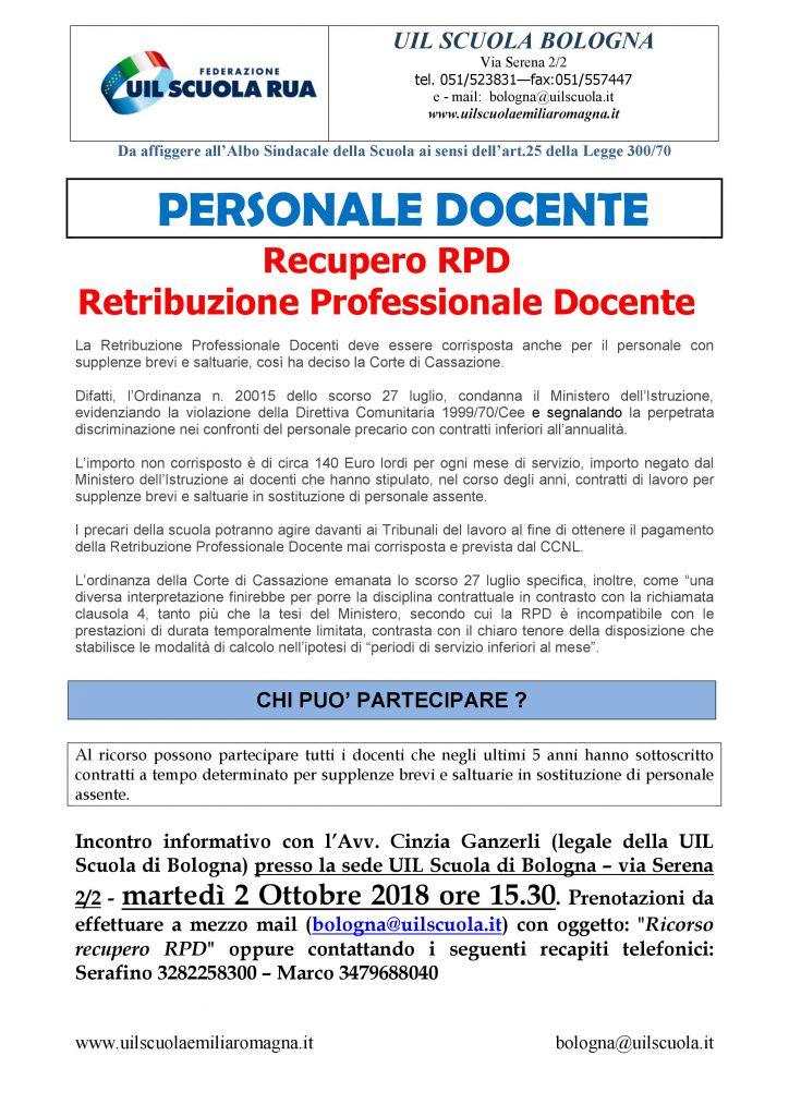 Personale docente: Recupero RPD – Retribuzione Professionale Docente