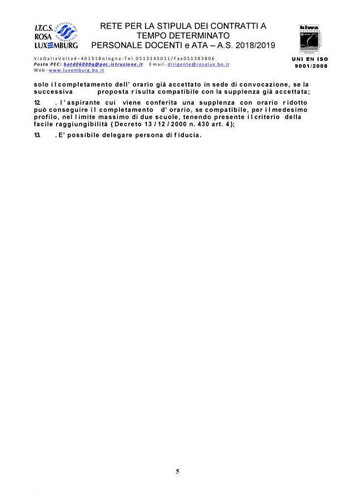 Rete delle supplenze Docenti e A.T.A. – Stipula contratti a tempo determinato personale A.T.A . – a.s. 2018/2019 – ulteriore convocazione collaboratori scolastici