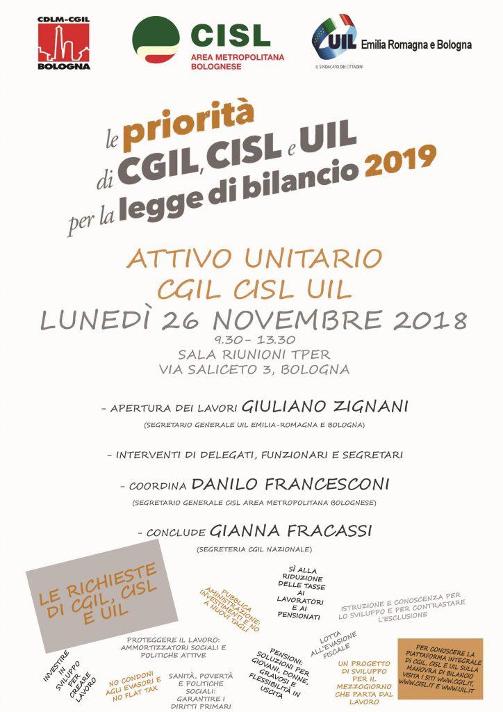 Attivo Unitaro CGIL-CISL-UIL sul documento sindacale prodotto per la crescita e lo sviluppo del Paese