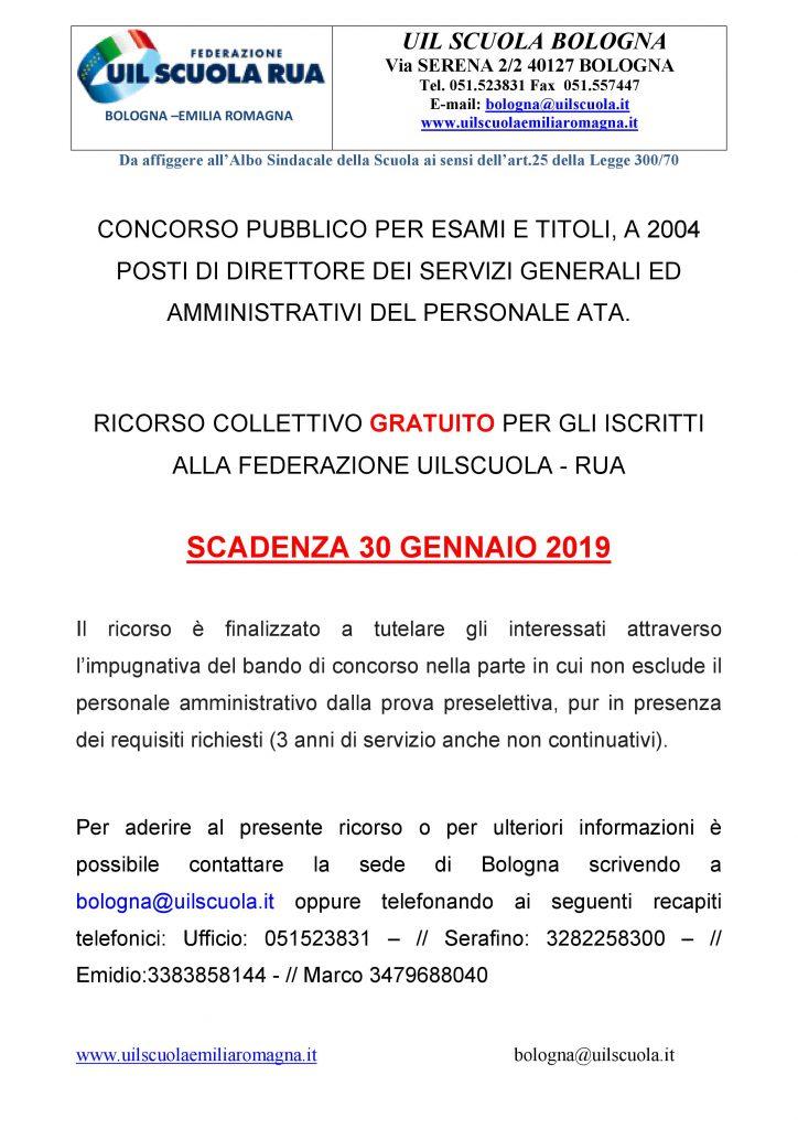 Concorso DSGA: RICORSO COLLETTIVO GRATUITO PER GLI ISCRITTI ALLA FEDERAZIONE UILSCUOLA – RUA