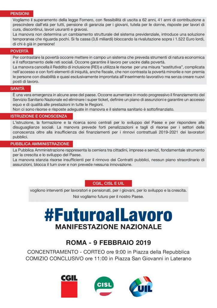 Manifestazione nazionale unitaria CGIL CISL UIL #FuturoalLavoro – Roma, 9 febbraio 2019