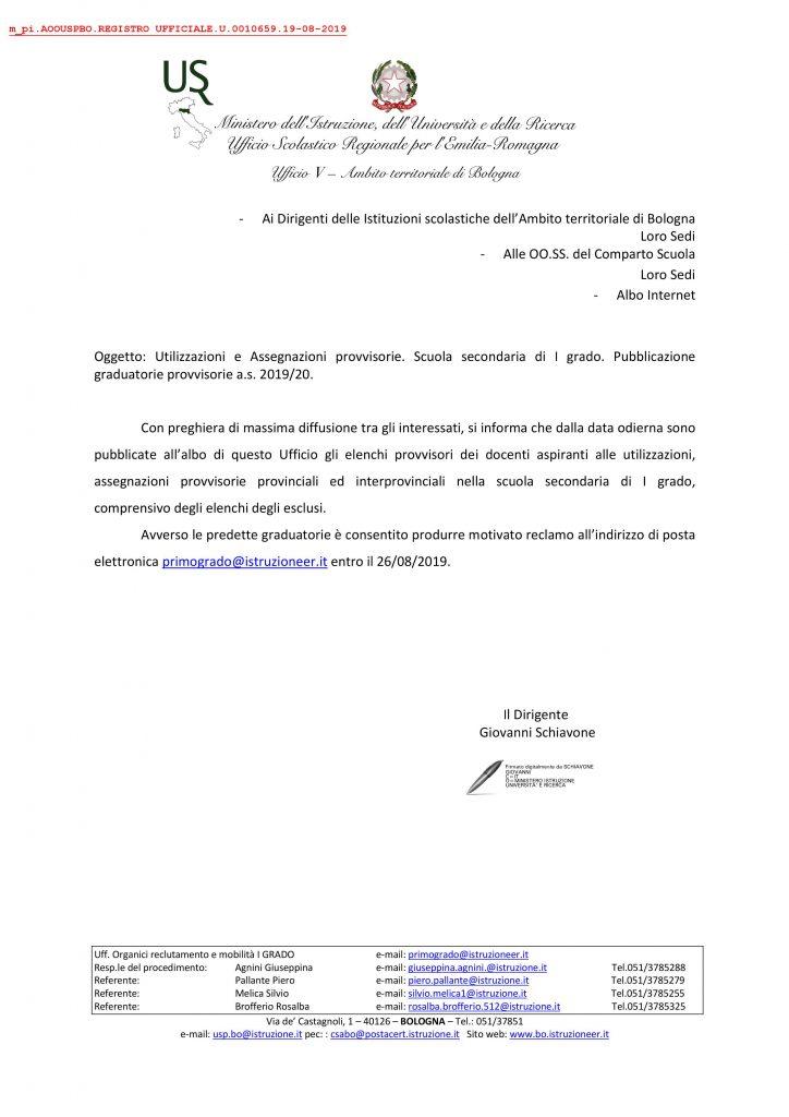 UAT di Bologna | Utilizzazioni-assegn. provv. 2019/20 Secondaria I grado graduatorie provvisorie
