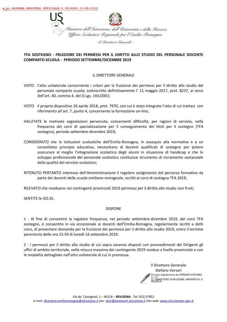 USR EMILIA ROMAGNA | TFA Sostegno-Permessi Diritto allo Studio Docenti Comparto Scuola set./dic. 2019