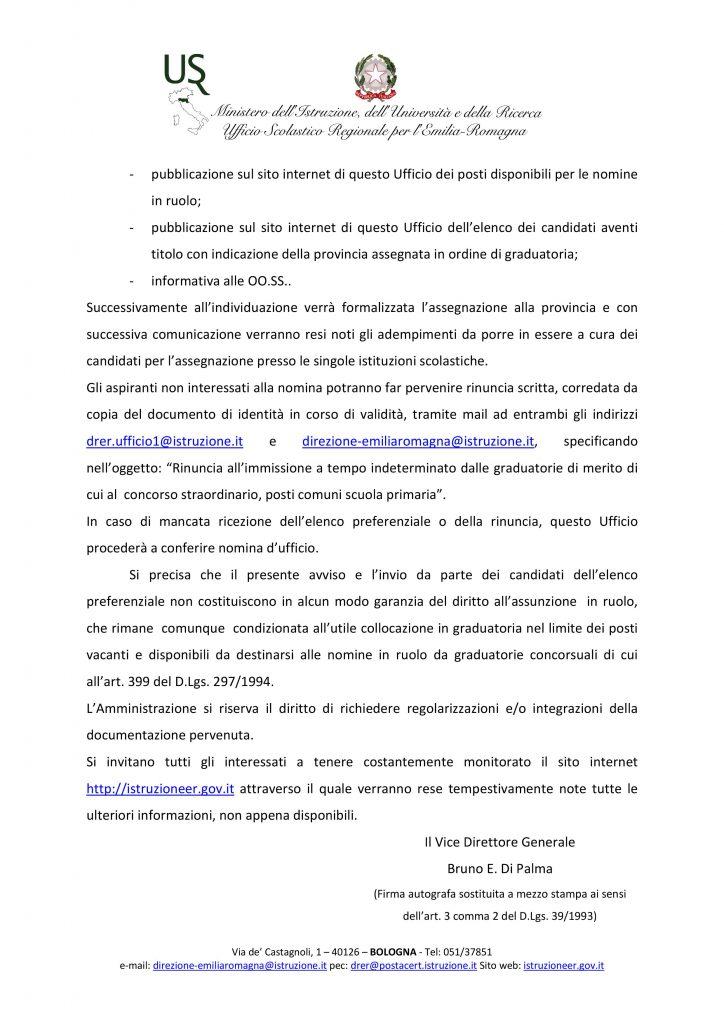 USR EMILIA ROMAGNA | AVVISO – Operazioni di immissione in ruolo del personale docente -primaria