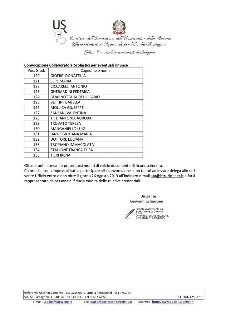 UAT di Bologna | Assunzioni tempo indeterminato ATA – 2019/2020. Calendario convocazioni.