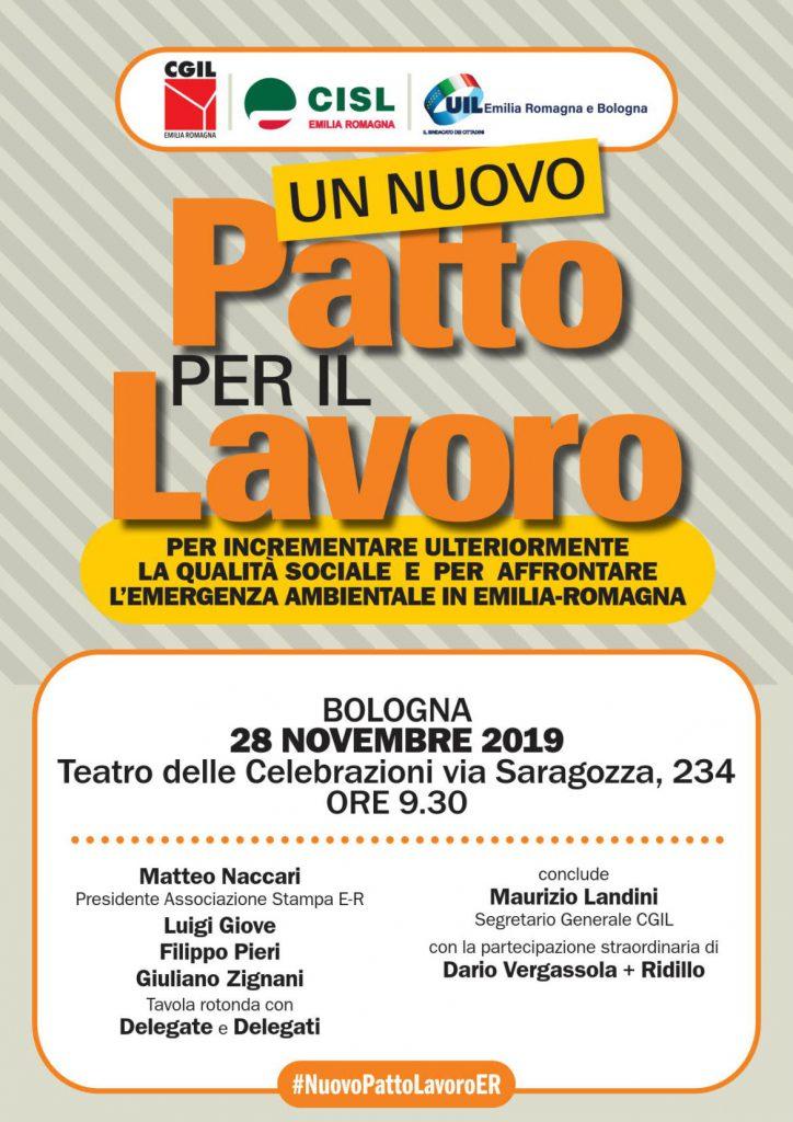 INIZIATIVE CONFEDERALI | Cgil-Cisl-Uil (ER): attivo sul Nuovo Patto per il lavoro, 28 novembre a Bologna
