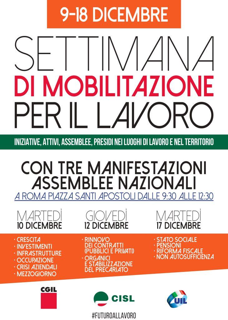 Settimana di mobilitazione per il lavoro di Cgil Cisl Uil