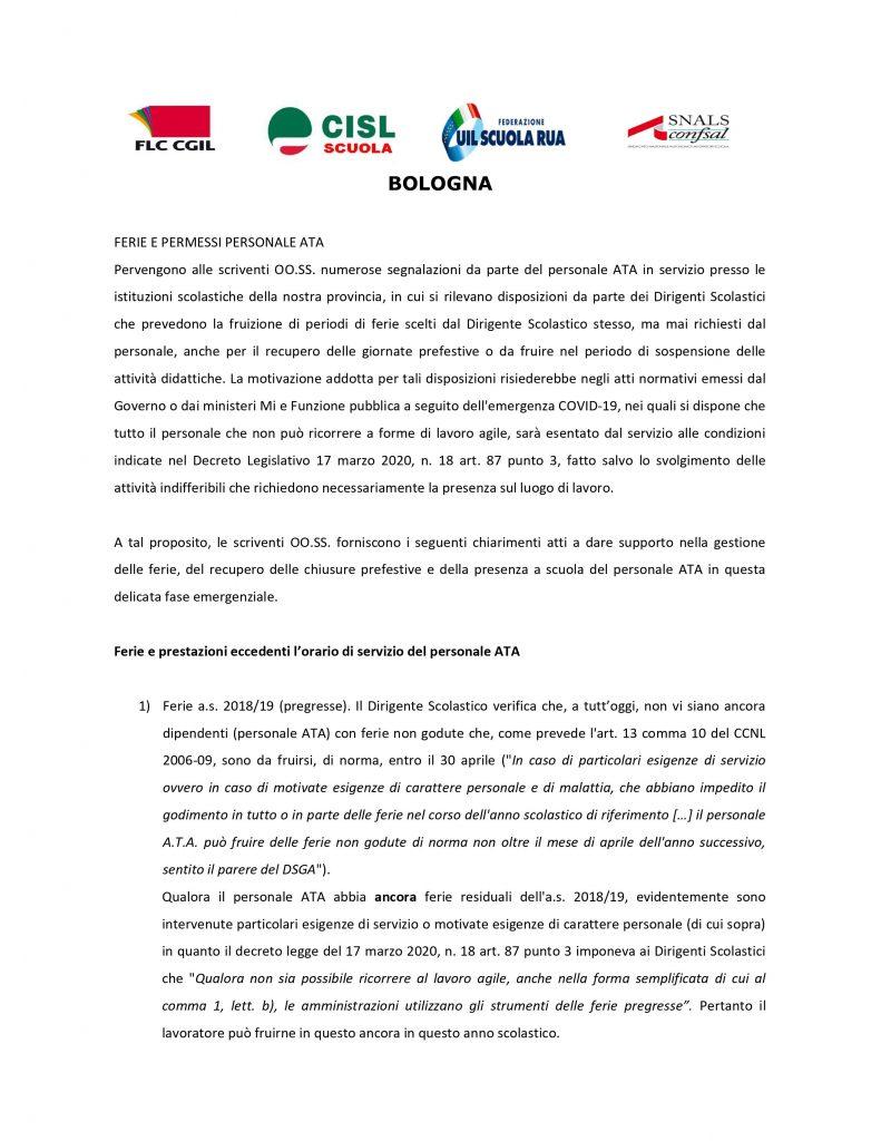 FERIE E PERMESSI PERSONALE ATA | i chiarimenti delle OO.SS. della provincia di Bologna