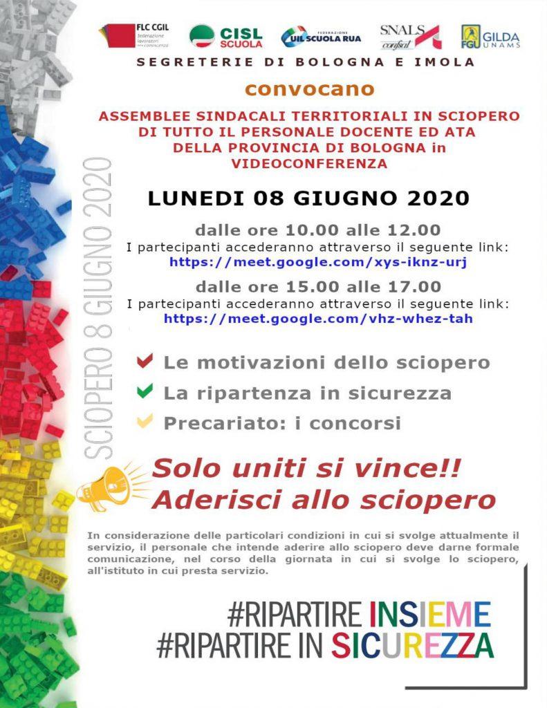 SCIOPERO 8 GIUGNO 2020 | Assemblee sindacali territoriali in sciopero di tutto il personale docente ed ATA della provincia di Bologna in videoconferenza
