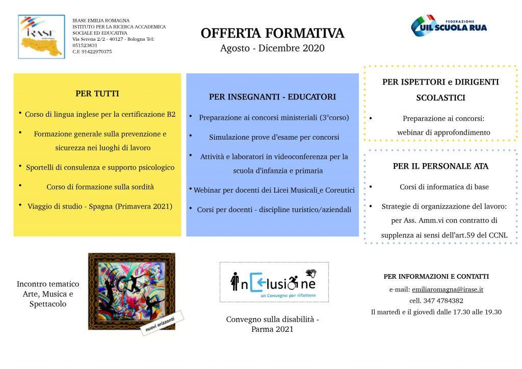 IRASE Emilia Romagna | Programmazione delle attività del secondo semestre 2020