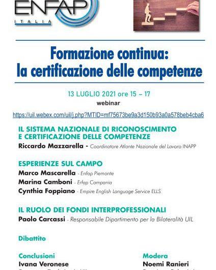 ENFAP ITALIA | Formazione continua: la certificazione delle competenze – 13 LUGLIO 2021 ore 15 – 17  webinar